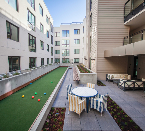 Higby Amenity Space Featuring Bocce Ball Court & Seating Area